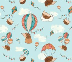 Hedgies up up and away fabric by kimflemingillustration on Spoonflower - custom fabric