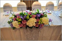 #Wedding reception #bridal #table #flowers top table colourful pink purple white green roses hydrangea simple