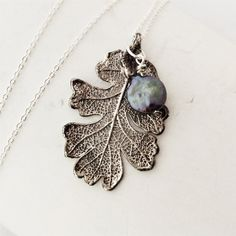 Real Leaf Jewelry, Goth Oak, antique silver with black freshwater pearl, sterling silver chain