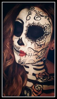 Day of the dead, dia de los muertos makeup, face paint, makeup, sugar skull Now YOU Can Create Mind-Blowing Artistic Images With Top Secret Photography Tutorials With Step-By-Step Instructions! http://trick-photo-graphybook-today.blogspot.com?prod=WlankFlr #DayoftheDead #stepbystepfacepainting #facepainting