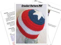 Captain America beanie PATTERN, Avengers, handmade crochet, teen/adult size