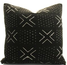 African Mudcloth Pillow Cover Black Brown Ethnic by BohoPillow