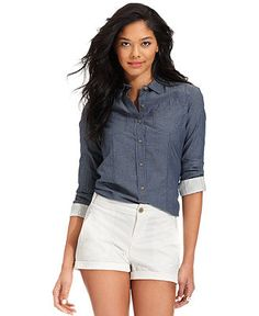 Calvin Klein Jeans Shirt, Long-Sleeve Denim Printed - Tops - Women - Macy's