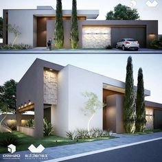 home design and decorating Modern House Facades, Modern Architecture House, Modern House Plans, Facade Architecture, Modern Buildings, Residential Architecture, Modern House Design, Villa Design, Facade Design