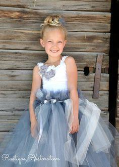 Little Girl's Tutu Dress in Gray and White!