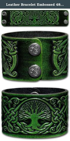 Leather Bracelet Embossed 48mm Celtic Tree of Life (8) Antique-green with Snap Fasteners (Nickel Free) (19 Centimeters). Wrist Sizing First cut a strip of paper in the width of the bracelet you prefer. Measure tightly where your wrist is broadest and sign on where the paper overlaps. Now measure your wrist size and add 1 inch (2,5cm) - this is your actual bracelet size. Total length 19 cm (7.5 inch) - wrist size ca. 16.5 cm (6.6 inch) .