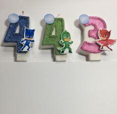 PJ masks inspired birthday candle … Childrens birthday … cats