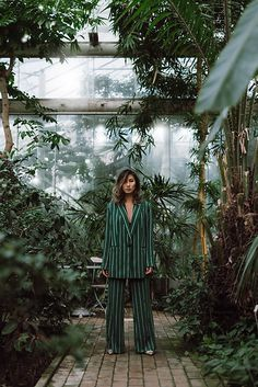 Louise Xin - H&M Green Stripped Suit - Rainforest Stripped Pants, Green Suit, Copenhagen Fashion Week, 29 Years Old, Cherry Blossom, Dapper, Street Fashion, Minimal, Sew