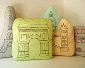 Paris Eiffel Tower - Sashiko inspired pillow. $38.00, via Etsy.