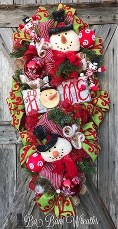 Snowman Wreath Snowman Decor Christmas Wreath Rustic
