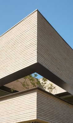 Image 2 of 28 from gallery of L_Square House / Wise Architecture. Photograph by Roh Kyung Facade Design, Exterior Design, House Design, Brick Architecture, Architecture Photo, Building Exterior, Brick Building, Mall Facade, Building Skin