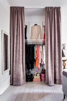 Small Room Bedroom, Closet Bedroom, Bedroom Storage, Home Bedroom, Bed Room, Closet Curtains, Closet Doors, Curtain Wardrobe Doors, Armoire Entree