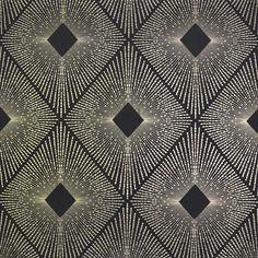 Sample Harlowe Wallpaper in Black and Gold by Antonina Vella for York Wallcoverings