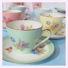 Pastel tea cup collection.