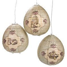 "Easter egg paper lanterns ~ (catalog# IN-37/1384) vintage-look bunny/chick motifs on paper over 9½"" egg-shaped frames ~ $8/set of 3 