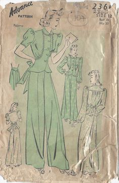 "1940s Vintage Sewing Pattern PYJAMAS B30"" (107) 