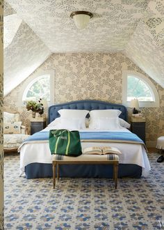 wallpapered attic bedroom in classic style   coco kelley