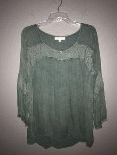 68fd1776723e4 Beautiful Eden   Olivia Green Rayon 3 4 Sleeve Blouse Size L