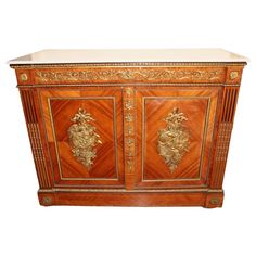 For Sale on - Support cabinet in rosewood opening to a drawer and two doors decorated with trophies of agrarian instruments revealing four drawers, the fluting and asparagus Mahogany Furniture, Legion Of Honour, Napoleon Iii, Cabinet Making, Jean Michel, Modern Cabinets, White Marble, 18th Century, Asparagus