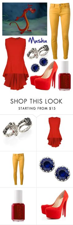 """Mulan: Mushu"" by cristianoronaldostar ❤ liked on Polyvore featuring John Hardy, Alexander McQueen, Hollywood Trading Company, Essie and Christian Louboutin"