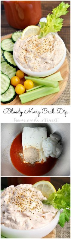 This creamy Bloody Mary crab dip is easy and quick to make. If you love bloody mary drinks than will fall in love with this party dip. With just a few ingredients you have a great appetizer dip for any gathering.