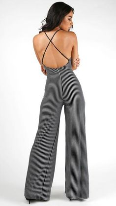 Striped Sexy X Back Jumpsuit