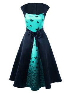 Square Neck Bowknot Embellished Butterfly Print Dress