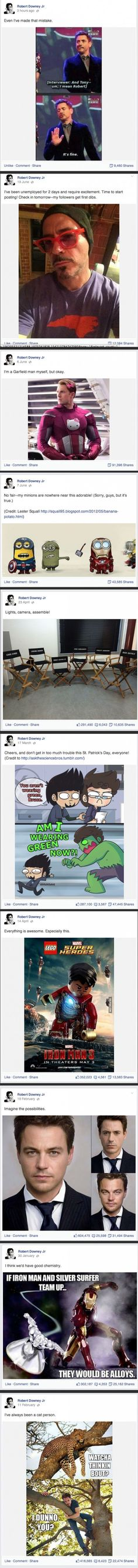 Let's Follow Robert Downey Jr's Facebook Page. #RobertDowneyJr