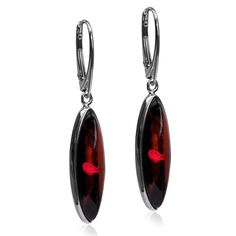 Sterling Silver Top Quality Red Dark Amber Oval Leverback Earrings