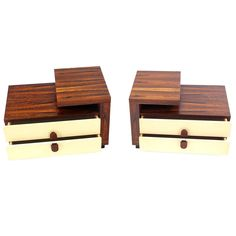 Pair of Mid Century Modern Rosewood Step End Tables Nightstands