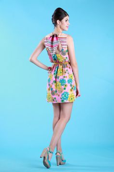 SUZIE Pink Retro Asian Floral Dress w/ Striped Yoke & by Alexenia, $98.00