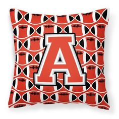 Carolines Treasures Monogram Football Decorative Outdoor Pillow Scarlet/Gray - CJ1067-YPW1414, Durable