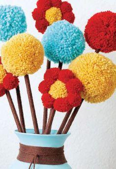 U can make these fuzzy pom-pom flowers using our pom-pom makers! Dress up a boring vase using the same yarn colors & match ur home decor Pom Pom Flowers, Diy Flowers, Crochet Flowers, Cute Crafts, Diy And Crafts, Crafts For Kids, Arts And Crafts, Pom Pom Crafts, Yarn Crafts