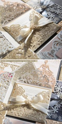 Luxury champagne gold laser cut wedding invitations #EWI #weddinginvitations
