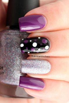Purple, White and Black Polka Dots Nails. Nail Design, Nail Art, Nail Salon, Irvine, Newport Beach