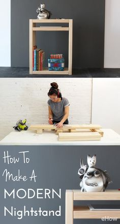 This simple and sleek modern nightstand is easy to DIY! Watch the Homemade Modern Team create this beautiful and functional modern nightstand in the video and get all the instructions here: http://www.ehow.com/how_12343190_make-modern-nightstand.html?utm_source=pinterest.com&utm_medium=referral&utm_content=freestyle&utm_campaign=fanpage