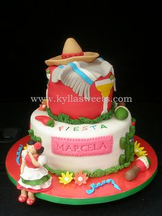 Mexican party cake ~ minus the margarita glass. Mexican Themed Cakes, Mexican Fiesta Cake, Mexican Party, Mexican Cakes, Fancy Cakes, Mini Cakes, Cupcake Cakes, Mexican Birthday Parties, Cake Land