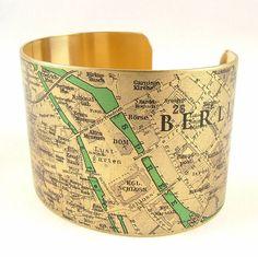 Travel Gift - Berlin Germany City Street Map Brass Cuff Bracelet - German Cartography Map Jewelry - Old Map - Trendy Jewelry $45.00