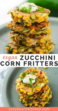 These zucchini corn fritters are vegan, crispy, and so easy to make! Perfect for as a summer appetizer or side. #veganrecipes #comfortfood #vegetarian