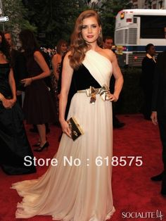Sexy Black White One Shoulder Gown Chiffon Evening Dress Amy Adams Celebrity  Dresses