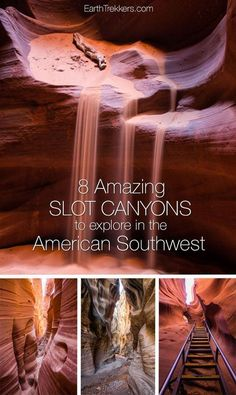 8 slot canyons to hike and explore in the American Southwest: Antelope Canyon Willis Creek Zion Narrows Buckskin Gulch and more. Arizona Road Trip, Arizona Travel, Road Trip Usa, Travel Oklahoma, Usa Roadtrip, Travel Usa, Slot Canyon, Bryce Canyon, Nevada
