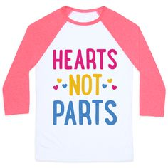 "Hearts Not Parts (Pansexual) - Celebrate your attraction to all types of gender and sexualities with this ""Hearts Not Parts"" pansexual pride design! Perfect for being pan, queer, and a proud member of the LGBTQ+ community!"
