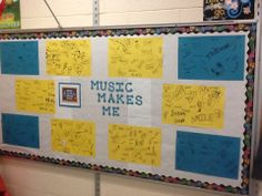 Here is a picture of my bulletin board for music in our school's month Music Bulletin Boards, School Bulletin Boards, Music Education Games, Teaching Music, Music Lesson Plans, Music Lessons, Music Anchor Charts, Music Classroom, Classroom Ideas