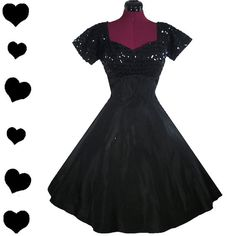 Check out this item in my Etsy shop https://www.etsy.com/listing/218937586/dress-vintage-50s-black-sequin-taffeta