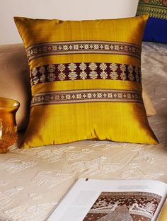 Golden Handloom Silk Cushion Cover x Diy Cushion Covers, Cushion Cover Designs, Decorative Pillow Covers, Patchwork Tiles, Patchwork Cushion, Diy Pillows, Throw Pillows, Colorful Pillows, Indian Home Decor