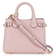 Burberry The Baby Banner Leather and House Check Tote - Pale Orchid - Burberry - Handbags & Accessories - Handbags - Jomashop