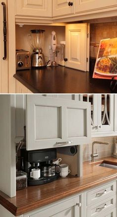 Build a DIY-friendly appliance garage to help you get rid of a countertop cluttered with small kitchen appliances such as coffeepot, toaster and even stand mixer: