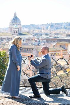 Asking the BIG question overlooking the city of Rome from a distance candidly photographed by the Andrea Matone Photography studio Wedding Proposals, Marriage Proposals, Wedding Couples, Surprise Engagement, Surprise Wedding, Romantic Proposal, Romantic Photos, Couple Posing, Couple Photos