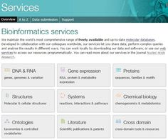 "EMBL-EBI: ""We maintain the world's most comprehensive range of freely available and up-to-date molecular databases. Developed in collaboration with our colleagues worldwide, our services let you share data, perform complex queries and analyse the results in different ways. You can work locally by downloading our data and software, or use our web services to access our resources programmatically."""