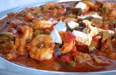 Greek family recipe for Shrimp Saganaki Seafood Salad, Fish And Seafood, Shrimp Saganaki Recipe, Cookbook Recipes, Cooking Recipes, Food Network Recipes, Food Processor Recipes, Greek Shrimp, The Kitchen Food Network